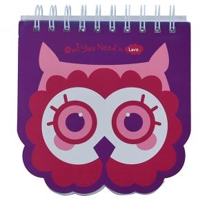Owl Face Purple Notebook - A5 Size