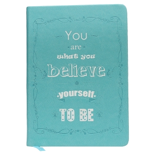 Believe - A5 Perfect Bound PU Leatherite Cover Notebook Inspirational / Motivational Quote Printed / Designer Covers Combined With Ruled Sheets Notebook for Personal Notes, Office Diary, School Book, College Notes