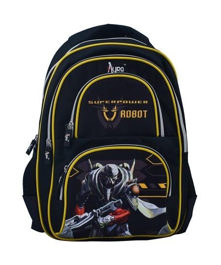 Robot Design Black School Bag for Pre-School / Nursery / Play School / Kindergarten. Kid's Age Group (3 to 6 years) Childrens Waterproof School Bag
