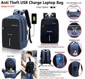 Anti Theft USB Charge Laptop Bag H-1519