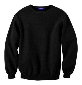 Rib Neck Sweat Shirt - Black
