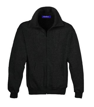 Sweat Shirt With Collar & Zip - Black