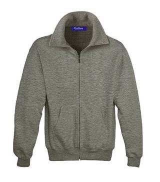 Sweat Shirt With Collar & Zip - Grey Heather