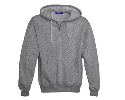 Sweat Shirt With Hood & Pocket - Grey Heather