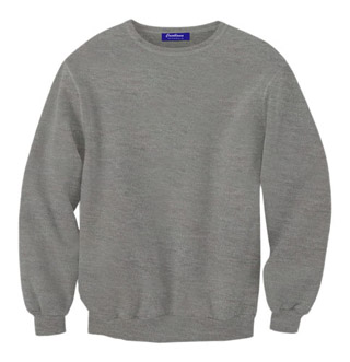 Rib Neck Sweat Shirt - Grey Heather