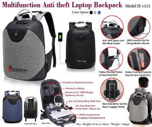 Multifunction Anti theft Laptop Backpack H-1515
