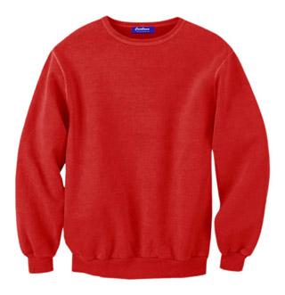 Rib Neck Sweat Shirt - Red