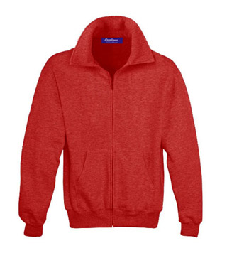 Sweat Shirt With Collar & Zip - Red