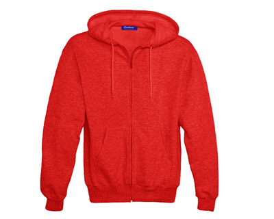 Sweat Shirt With Hood & Pocket - Red