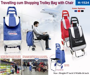 Travelling Cum Shopping Trolley Bag with Chair-1524