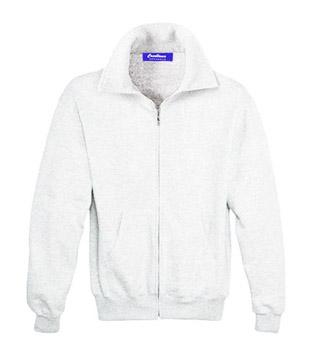 Sweat Shirt With Collar & Zip - White