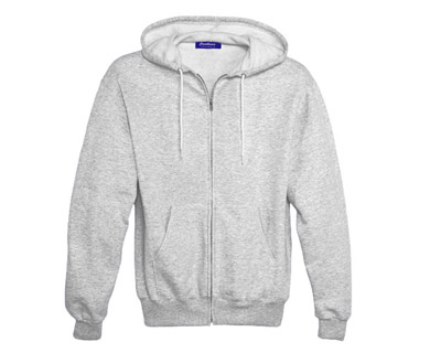 Sweat Shirt With Hood & Pocket - White Heather