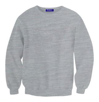 Rib Neck Sweat Shirt - White Heather