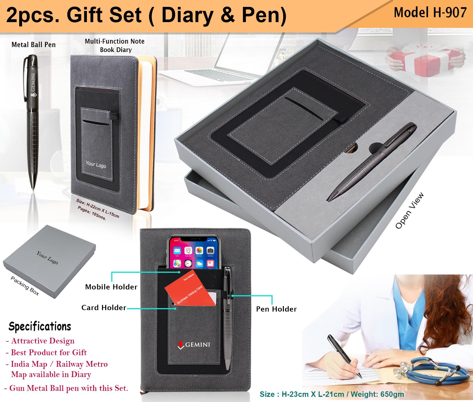 2pcs gift Set Diary Pen H-907