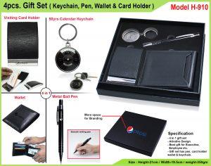 4Pcs Gift Set Keychain Pen Wallet Card Holder H-910
