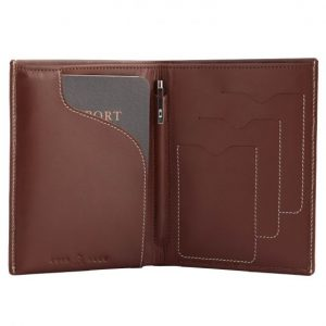 Cuir Ally Voyager Smart Passport Wallet - Brown