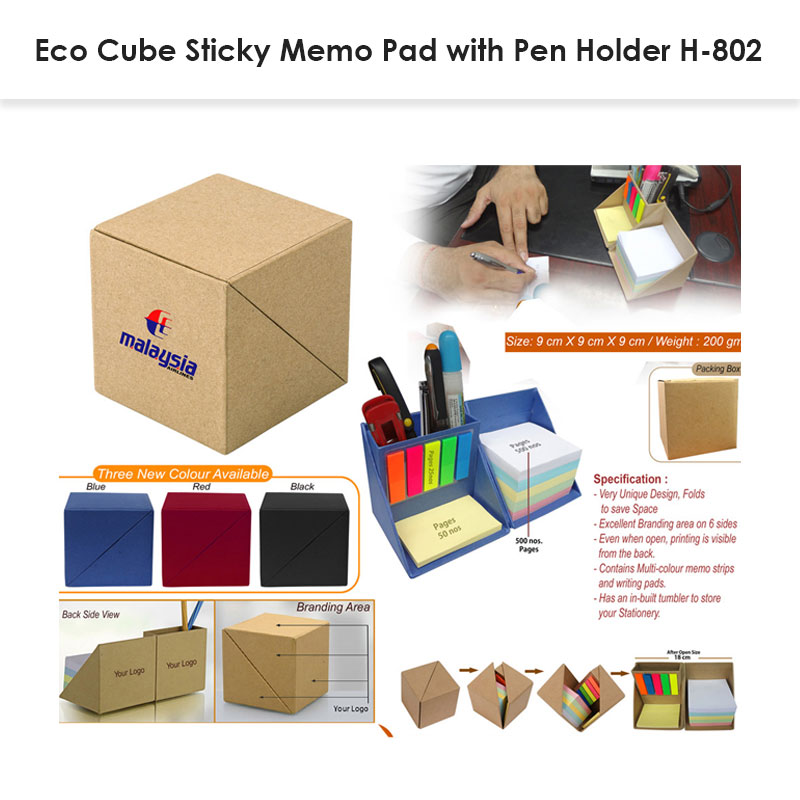 Eco Cube Sticky-Memo Pad with Stationery Holder H-802 » Corporate