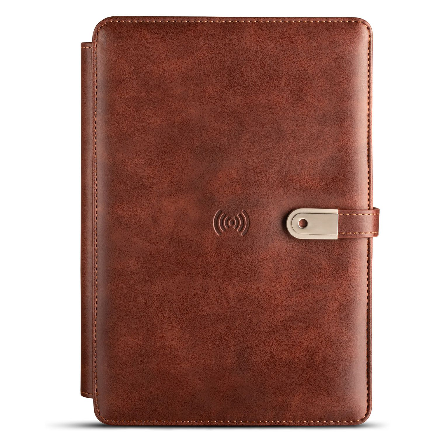 Organizer Diary with Wireless Charger 4000mAh Powerbank And 16GB Flash Drive - Dark Brown