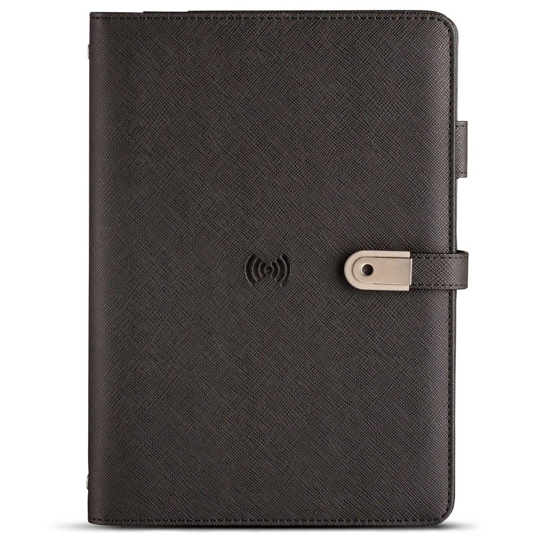 Wireless Charging Powerbank Diary with USB Black