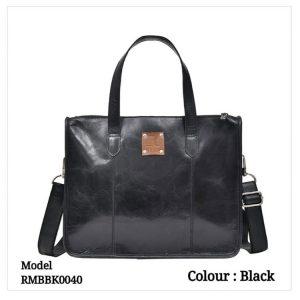 Leather Office Laptop Messenger Bag 0040 Tan Black