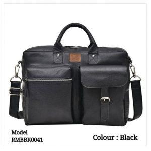 Leather Office Laptop Messenger Bag 0041 Black