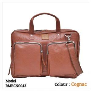 Leather Office Laptop Messenger Bag 0043 Cognac