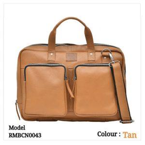Leather Office Laptop Messenger Bag 0043 Tan
