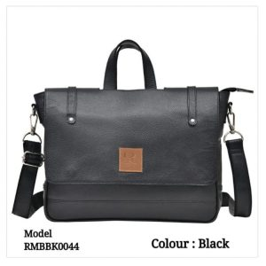 Leather Office Laptop Messenger Bag 0044 Black