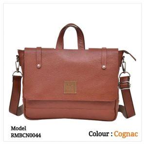 Leather Office Laptop Messenger Bag 0044 Cognac
