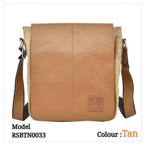 Leather Sling Messenger Office Bag 0033 Tan