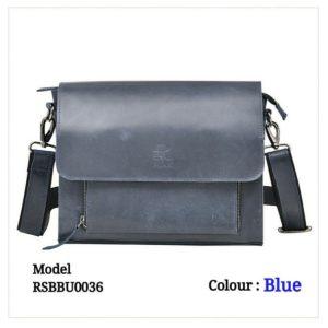 Leather Sling Messenger Office Bag 0036 Blue