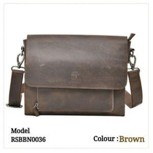 Leather Sling Messenger Office Bag 0036 Brown