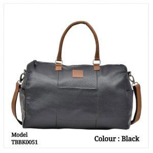 Leather Travel Duffel Bag 0051 Black