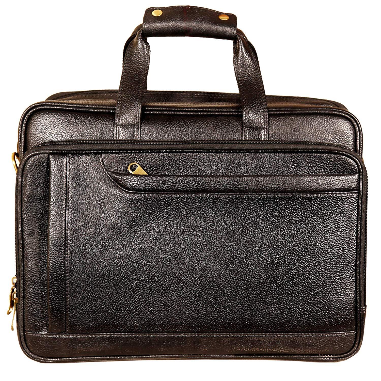 15.6 Inch Laptop Leather Bag for Men (Black)