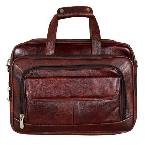 16 Inch Expandable Leather Briefcases Laptop Bags for Men (Brown)