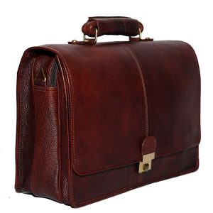 16 Inch Leather Briefcases Laptop Office Bags for Men Brown