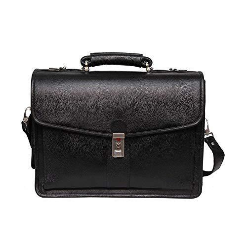 16 Inch Men's Leather Briefcase Leather Laptop Bag Black