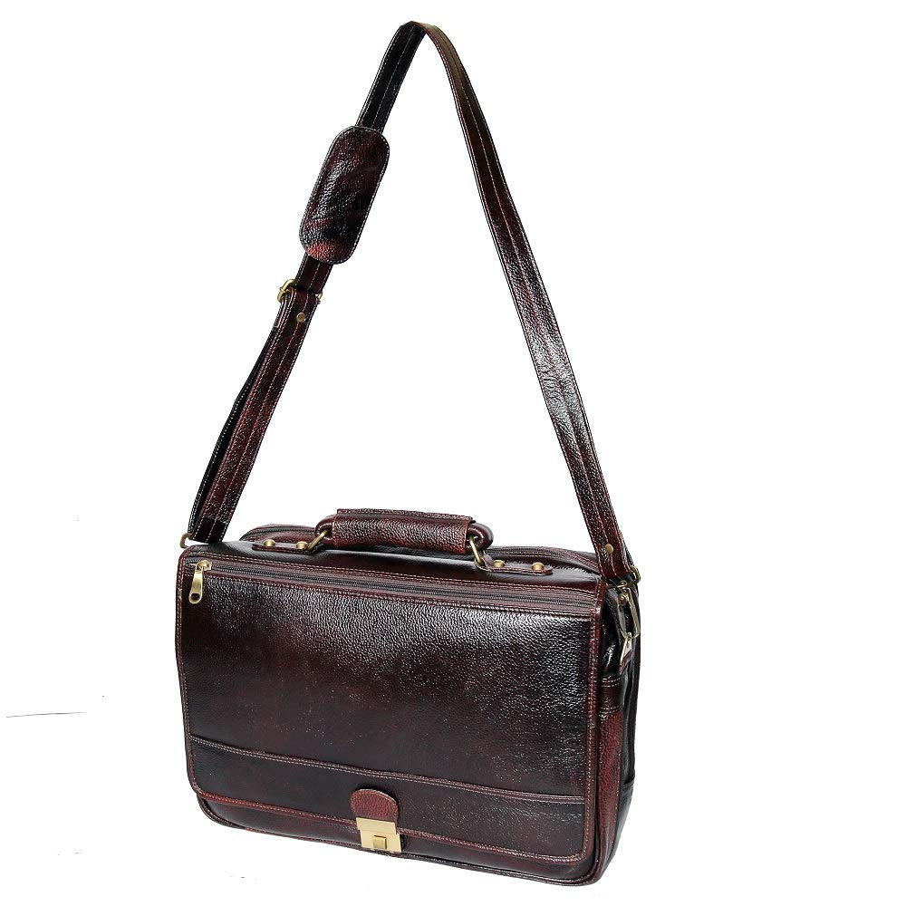 17 Inch Mens Luxury Leather Briefcases Shoulder Office Bags Brown