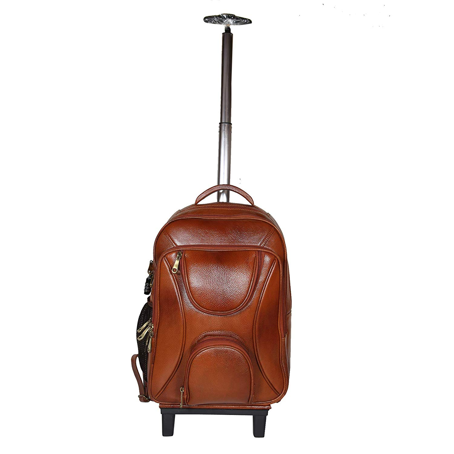 18 Inch Leather Laptop Backpacks Trolley Bags TAN