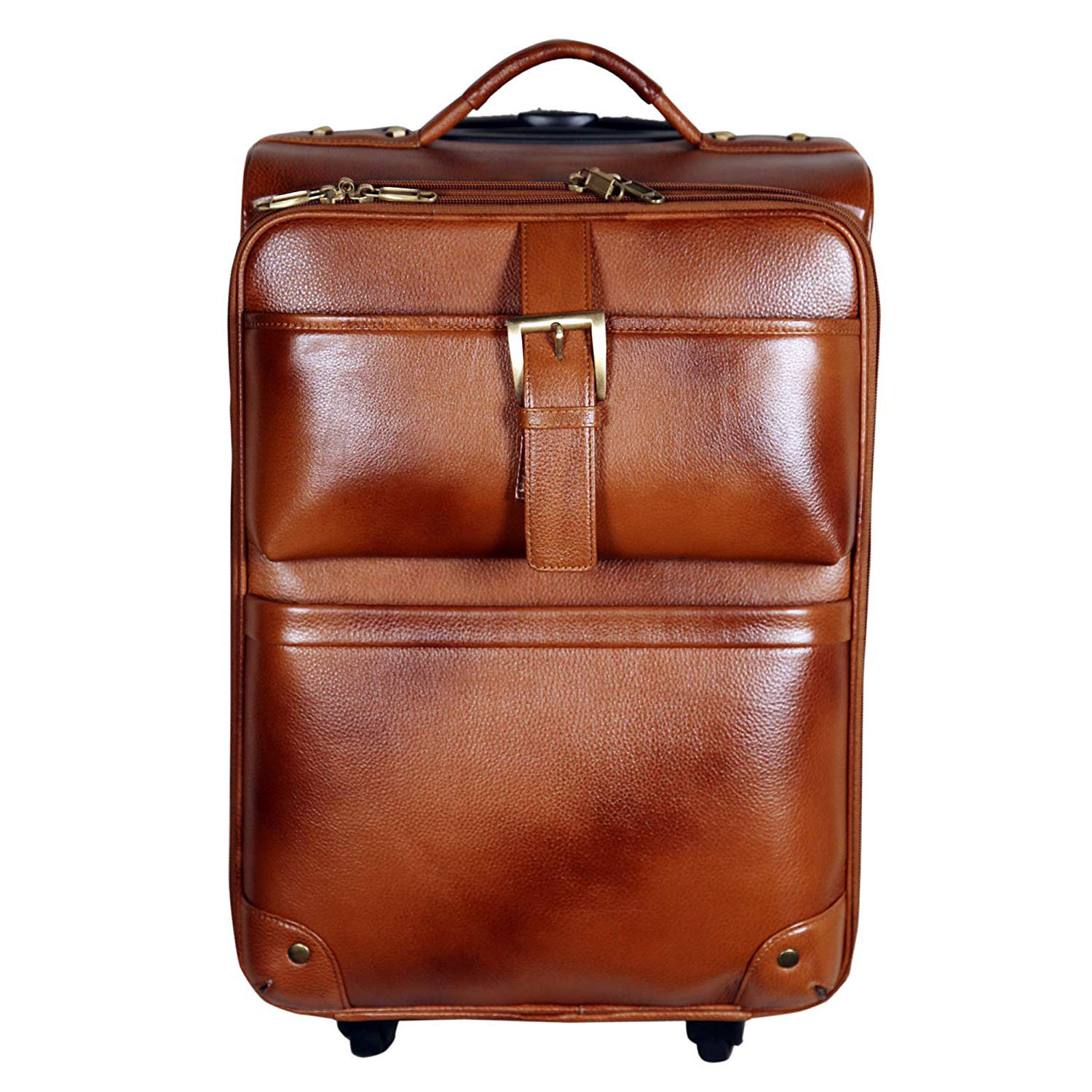 46 L Cabin Size Leather Softsided Travelling Bag (Tan)