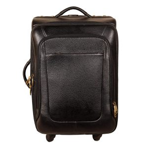 46 L Cabin Size Leather Travelling Luggage Bag - 20 Inch (Black)