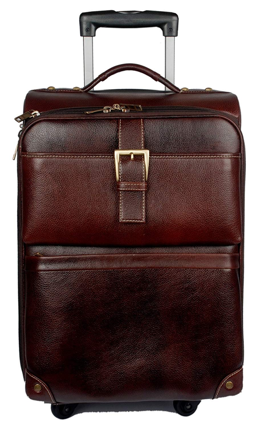 Betelgeuse brown color leather strolley travel bag