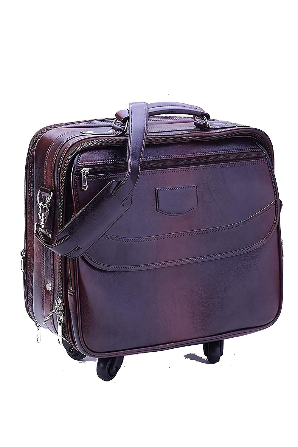 Brown Leatherette OverNighter Trolley Four Wheeler - Laptop Trolley Bag