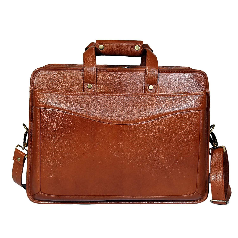 Mens 16 Inch Leather Shoulder Office Bag (TAN)