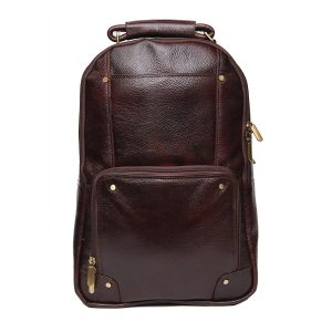 Mens and Womens 18-inch Brown Leather Backpack
