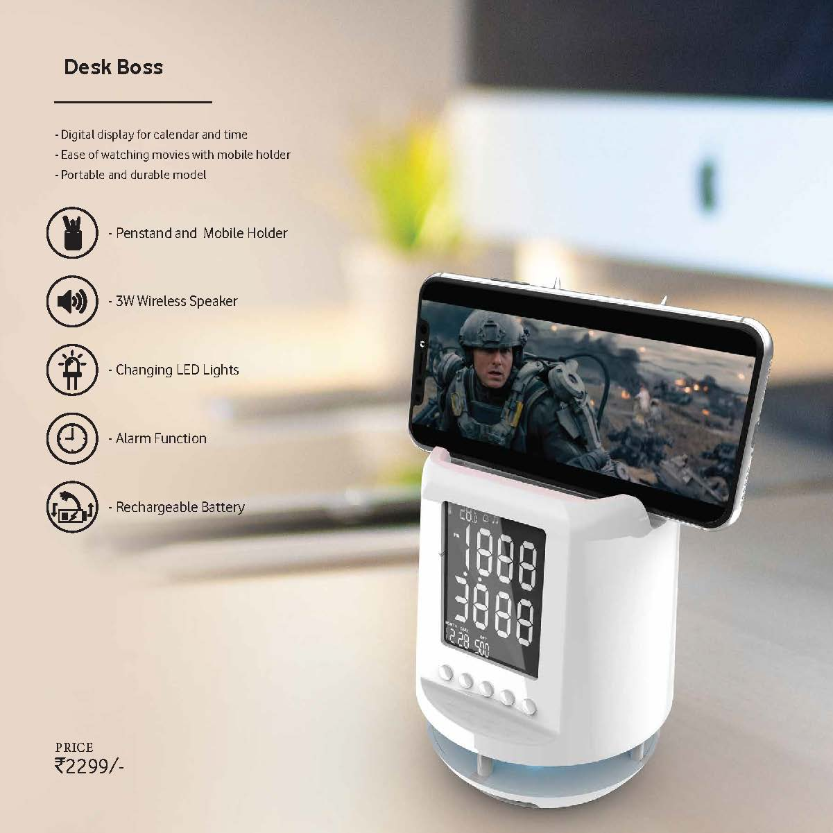 Desk Boss Bluetooth Speaker with Clock