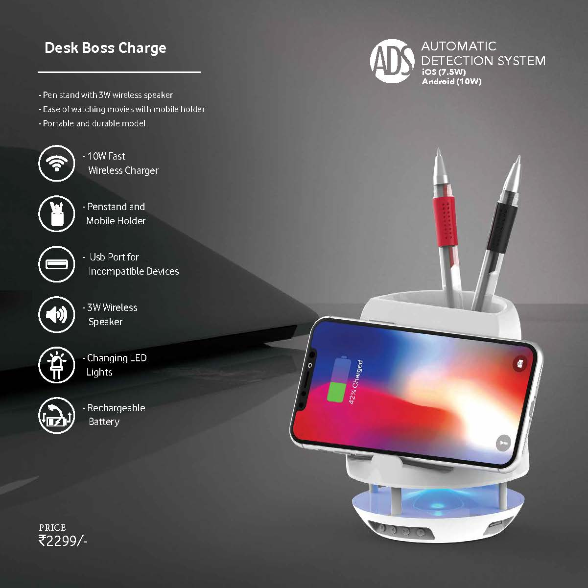 Desk Boss Charge - Bluetooth Speaker with Wireless Charger