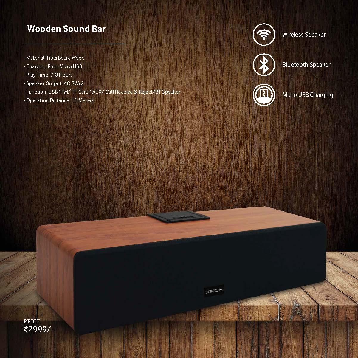 Wooden Sound Bar - Bluetooth Speaker