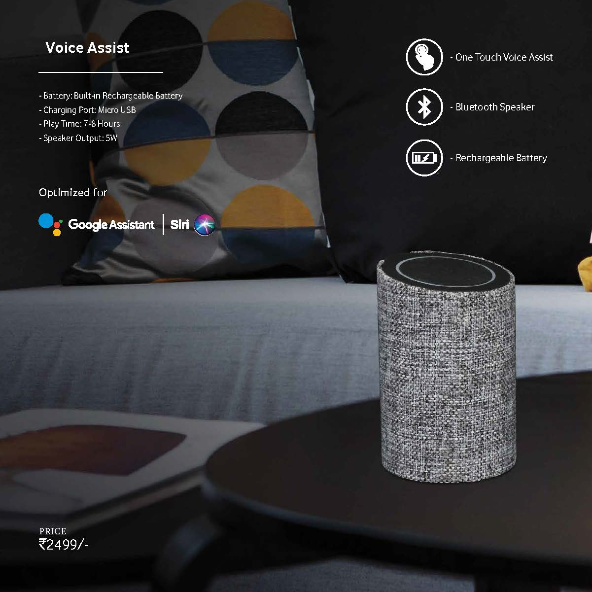 Voice Assist Bluetooth Speaker Optimized for Siri & Google Voice Assistant