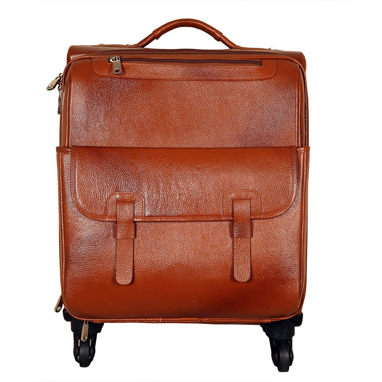 Tourister 100% Genuine Leather Cabin Size 15.6 Inch Laptop Trolley Luggage Bag. (TAN)